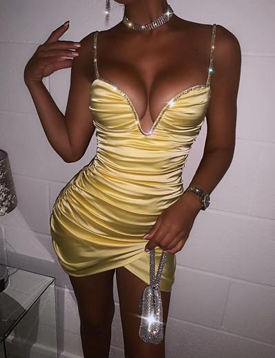 halpa Naisten mekot-Naisten Minimekko Kotelomekko Purppura Keltainen Hihaton Paljetti Rypytetty Yhtenäinen väri V kaula-aukko Kevät Kesä Tyylikäs Seksikäs 2021 S M L XL / Juhlamekko