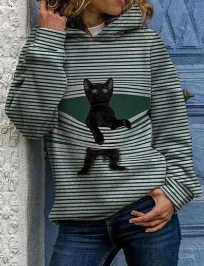 cheap Hoodies & Sweatshirts-Women's Cat Graphic Hoodie Pullover Casual Daily Basic Hoodies Sweatshirts  Blue Gray Black