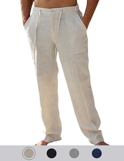 cheap Men's Clothing-Men's Simple Chic & Modern Pants Breathable Soft Outdoor Cotton- Pants Full Length Solid Color Grey White Black Navy Blue