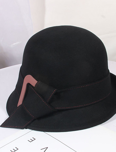 cheap Hats-Women's Party Hat Bow Party Wedding Street Wine Black Pure Color Hat / Gray / Fall / Winter