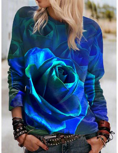 cheap Hoodies & Sweatshirts-Women's Floral 3D Sweatshirt Pullover Print 3D Print Sports Holiday Active Streetwear Hoodies Sweatshirts  Blue Green Red