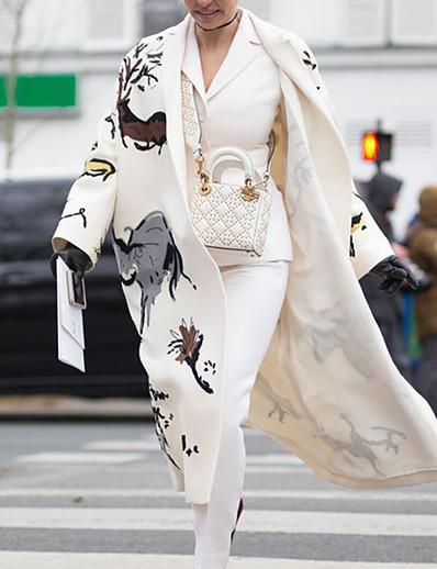 cheap Women's Outerwear-Women's Coat Fall Winter Casual Daily Long Coat Warm Elegant Jacket Long Sleeve Print Plaid / Check Flower off white