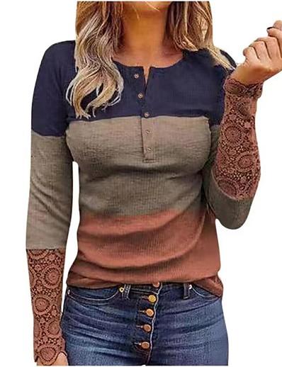 cheap Tees & T Shirts-Women's T shirt Long Sleeve Plain Round Neck Patchwork Print Sexy Tops Regular Fit Light Brown Gray Black