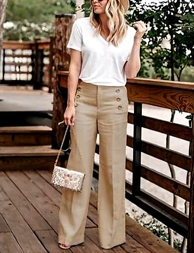 cheap Women's Bottoms-Women's Basic Chic & Modern Straight Culottes Wide Leg Sailor Pants Lightweight Causal Daily Pants Solid Colored Zipper Side Button Khaki Green Black Navy Blue Beige