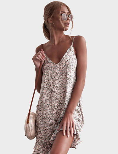 cheap Women's Clothing-LITB Basic Women's  A-Line Floral Dress Sleeveless Floral Dress Mini Wrap Dress  Vacation Daily Stylish