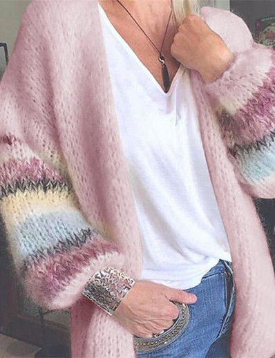halpa Villatakit-naisten perus rento värilohko sateenkaari väri lohko neuletakki pitkähihainen löysä villapaita neuletakit auki edessä loma syksy talvi keltainen punastava vaaleanpunainen vaaleanvihreä