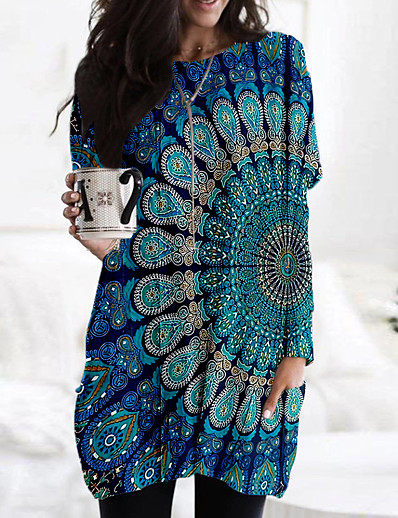 cheap 3D Trends-Women's Shift Dress Short Mini Dress Blue Long Sleeve Geometric Print Fall Spring V Neck Casual Loose 2021 M L XL XXL 3XL