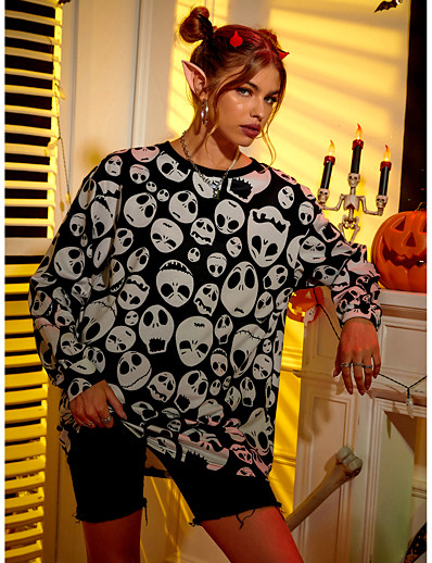 cheap Women's Tops-Women's Skull Sweatshirt Print Casual Weekend Basic Long Hoodies Sweatshirts  Black