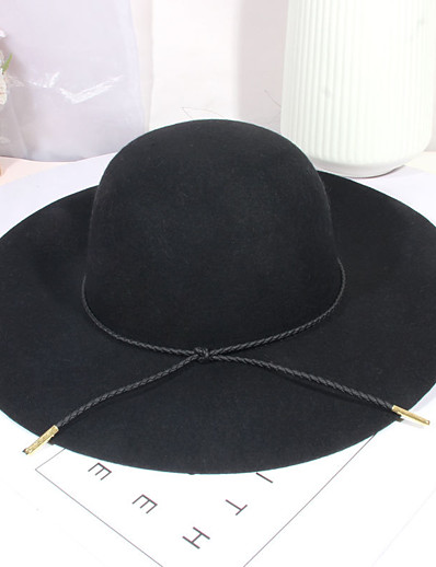 cheap Hats-Women's Party Hat Bow Party Wedding Street Navy Black Pure Color Hat / Red / Gray / Fall / Winter