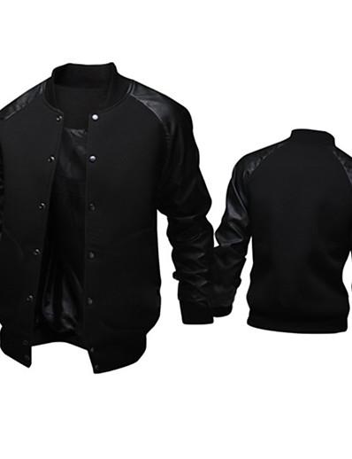 cheap Men's Outerwear-Men's Bomber Jacket Fall Winter Daily Weekend Regular Coat Regular Fit Active Jacket Long Sleeve Patchwork Dark Gray Light gray Black / Cotton