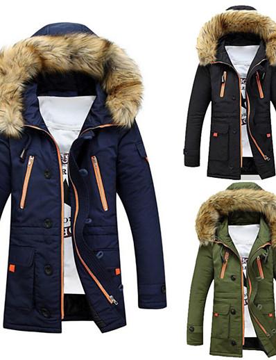 cheap Sportswear-parkas men winter jacket coats outerwear fur long cotton wadded hooded coat black xl