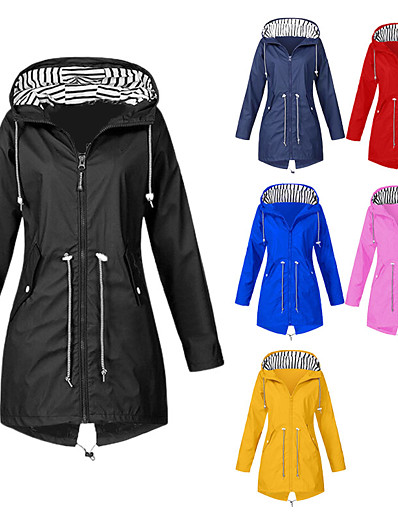 cheap Hunting Clothing-Women's Hoodie Jacket Hunting Rain Jacket Raincoat Outdoor Autumn / Fall Winter Waterproof Windproof Quick Dry Breathable Coat Top Cotton Polyester Camping / Hiking Hunting Casual Blue Yellow Black