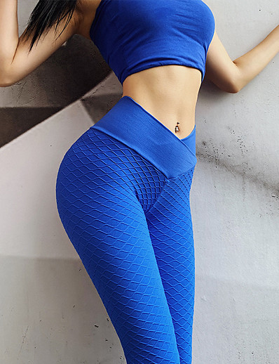 cheap Running, Jogging & Walking-Women's Yoga Pants High Waist Tights Leggings Bottoms Seamless Jacquard Tummy Control Butt Lift Quick Dry Blue Gray Green Fitness Gym Workout Performance Spandex Winter Sports Activewear Stretchy