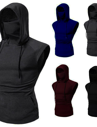 cheap Running, Jogging & Walking-Men's Sleeveless Hoodie with Mask Pullover Hoodie Sweatshirt Hoodie Pullover Top Street Athletic Summer Breathable Soft Sweat wicking Cotton Fitness Gym Workout Running Exercise Sportswear Solid Color
