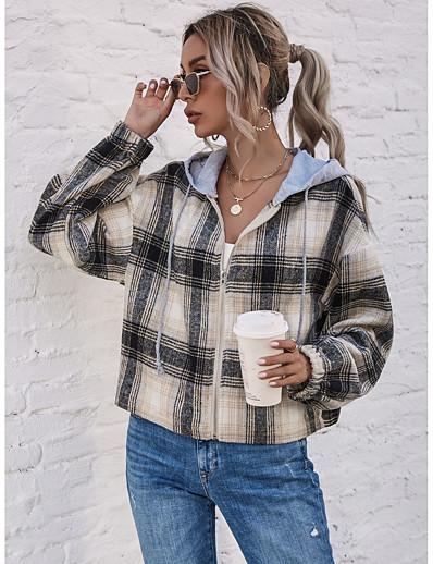cheap Women's Outerwear-Women's Jacket Fall Winter Daily Work Short Coat Hoodie Zipper Warm Slim Casual Streetwear Jacket Long Sleeve Patchwork Plaid / Check Gray Black