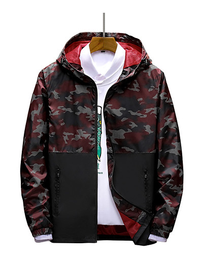 cheap Softshell, Fleece & Hiking Jackets-Men's Nylon Elastane Hoodie Jacket Hiking Jacket Hiking Windbreaker Winter Outdoor Thermal Warm Waterproof Windproof Lightweight Patchwork Full Length Visible Zipper Outerwear Hoodie Trench Coat