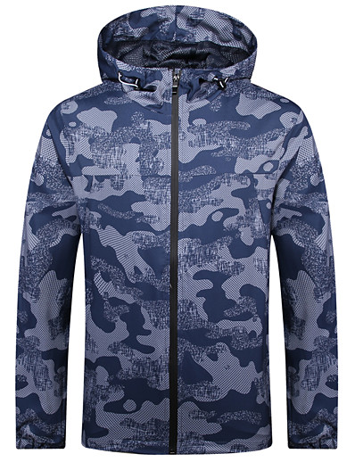cheap Softshell, Fleece & Hiking Jackets-Men's Hoodie Jacket Bomber Jacket Military Tactical Jacket Outdoor Thermal Warm Windproof Quick Dry Lightweight Outerwear Trench Coat Top Skiing Ski / Snowboard Fishing Black Navy Blue / Breathable