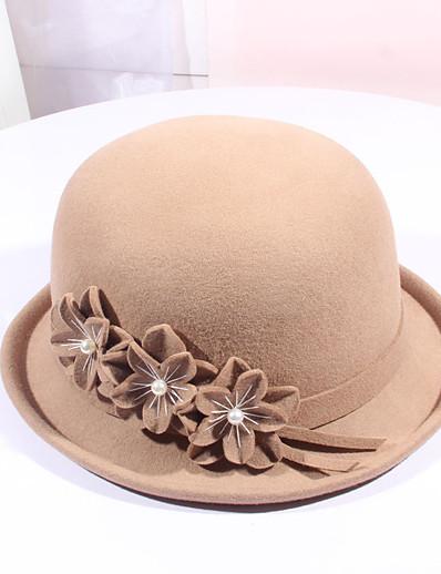 cheap Hats-Women's Party Hat Flower Party Wedding Street Wine Black Pure Color Hat / Khaki / Fall / Winter