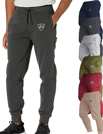 cheap Running, Jogging & Walking-Men's Athletic Sweatpants Joggers Track Pants Bottoms Cotton Drawstring With Pockets Fitness Gym Workout Running Jogging Training Summer Normal Breathable Soft Sweat wicking Sport Solid Color Fashion