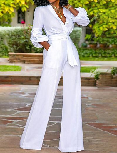 abordables Combinaisons femme-Combinaison-pantalon Lacet Femme Manches Longues Couleur Pleine Col en V Simple Blanche S M L XL XXL 3XL
