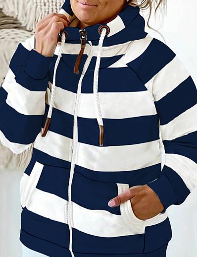 cheap Plus size-Women's Plus Size Tops Hoodie Sweatshirt Striped Zipper Pocket High Neck Long Sleeve Fall Winter Streetwear Blue Gray Black Big Size L XL XXL 3XL 4XL