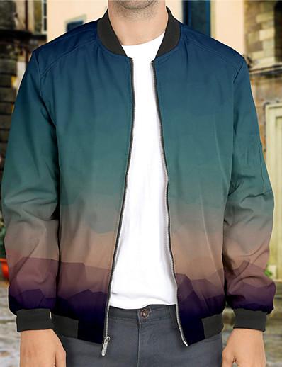 cheap Men's Outerwear-Men's Unisex Gradient Graphic Prints Zip Up Sweatshirt Outerwear Print 3D Print Daily Sports 3D Print Casual Hoodies Sweatshirts  Long Sleeve Blue