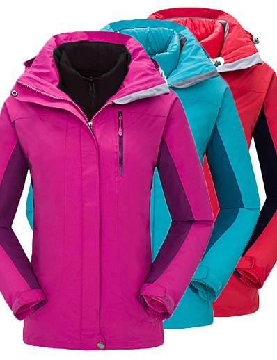 cheap Softshell, Fleece & Hiking Jackets-Women's Hiking Jacket Winter Outdoor Waterproof Windproof Warm Comfortable Patchwork Top Fishing Climbing Running Red Fuchsia Sky Blue