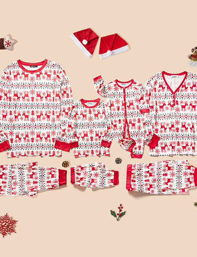 cheap Family Matching Outfits-Christmas Pajamas Family Look Christmas Deer Animal Print White Long Sleeve Daily Matching Outfits / Fall / Winter