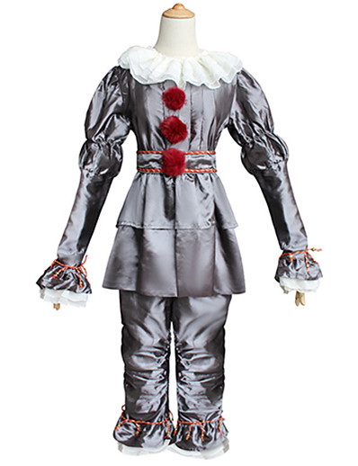 cheap Cosplay & Costumes-Burlesque Clown Pennywise It Clown Cosplay Costume Outfits Men's Teen Adults' Party Event / Party Stage Cosplay Cool Horror Halloween Halloween Carnival Masquerade Festival / Holiday Polyster Yellow