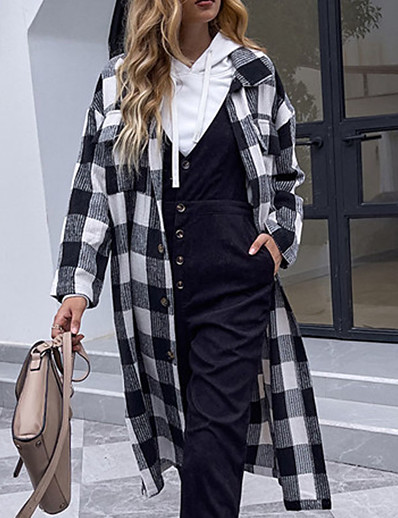 cheap Women's Outerwear-Women's Coat Fall Winter Street Daily Going out Long Coat Warm Breathable Regular Fit Casual Streetwear Cute Jacket Long Sleeve Pocket Plaid / Check Color Block Black