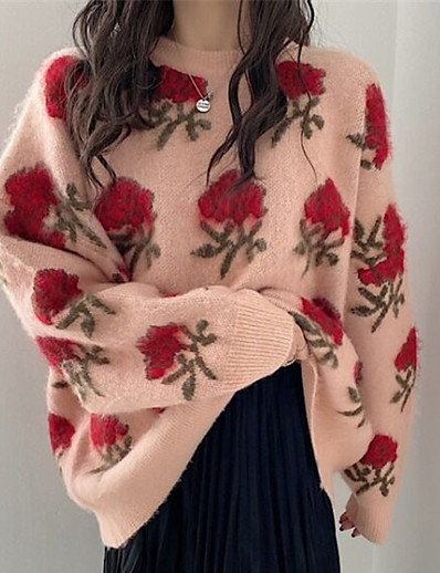 cheap Sweaters & Cardigans-Women's Pullover Sweater Jumper Floral Knitted Stylish Casual Soft Long Sleeve Sweater Cardigans Fall Winter Crew Neck Green Red