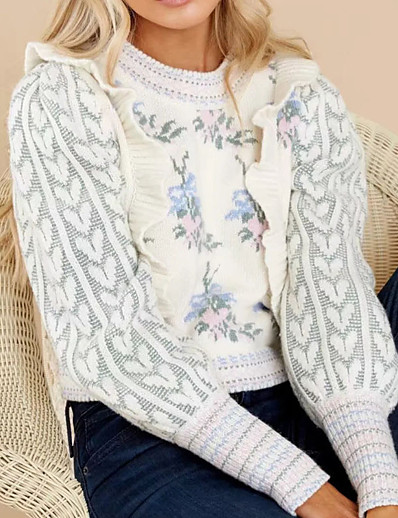 cheap Sweaters & Cardigans-Women's Pullover Sweater Jumper Floral Knitted Stylish Casual Soft Long Sleeve Sweater Cardigans Fall Winter Crew Neck White