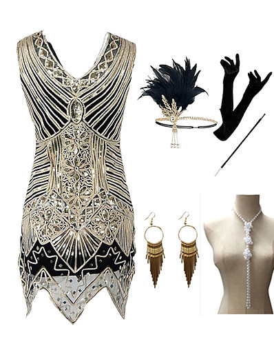 cheap Cosplay & Costumes-The Great Gatsby Roaring 20s 1920s Vintage Vacation Dress Flapper Dress Outfits Masquerade Prom Dress Women's Costume Golden Vintage Cosplay Party Prom / Gloves / Headwear / Necklace / Earrings