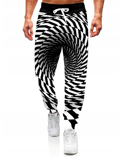 cheap Men's Bottoms-Men's Sporty Casual Designer Big and Tall Jogger Pants Sweatpants Trousers Lightweight Outdoor Sports Casual Daily Pants Full Length Optical Illusion Graphic Prints Sporty Print Black / White