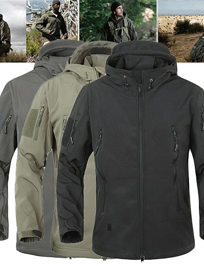 cheap Softshell, Fleece & Hiking Jackets-Men's Hiking Softshell Jacket Military Tactical Jacket Fleece Softshell Winter Outdoor Thermal Warm Waterproof Windproof Quick Dry Jacket 3-in-1 Jacket Top Single Slider Hunting Climbing Camping