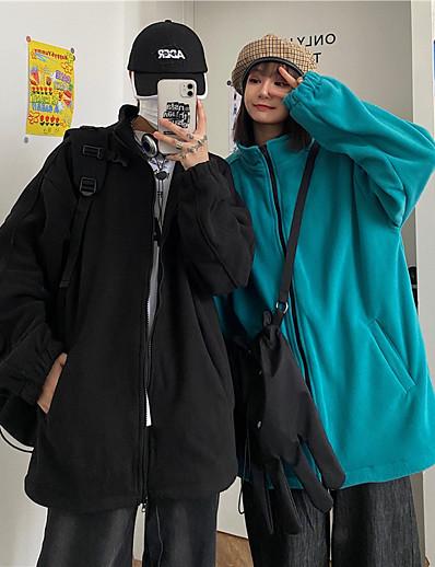 cheap Women's Outerwear-Men's Women's Jacket Teddy Coat Polar Fleece Fall Winter Going out Outdoor Regular Coat Windproof Warm Regular Fit Casual Streetwear Jacket Long Sleeve Quilted Pocket Solid Color Lake blue Black