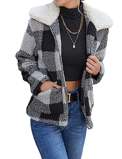 cheap Jackets-Women's Jacket Fall Winter Daily Regular Coat Warm Regular Fit Casual Jacket Long Sleeve Quilted Pocket Plaid / Check Gray Khaki / Print