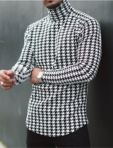 cheap Men's Tops-Men's T shirt Houndstooth Plaid Casual Long Sleeve Tops Lightweight Slim Fit Big and Tall Black / White Blue Yellow