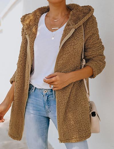cheap Blazers-Women's Teddy Coat Fall Winter Daily Going out Long Coat Round Neck Windproof Warm Regular Fit Elegant Streetwear Jacket Long Sleeve Patchwork Plain Khaki Green Black