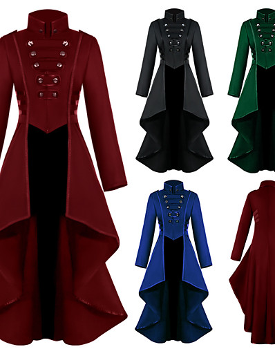 cheap Cosplay & Costumes-Plague Doctor Retro Vintage Punk & Gothic Steampunk 17th Century Coat Masquerade Tuxedo Trench Coat Women's Formal Style Vintage Style Costume Blue / Green / Black Vintage Cosplay Long Sleeve Party