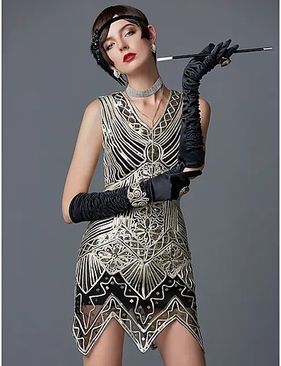 cheap Women-The Great Gatsby Charleston Roaring 20s 1920s Vintage Vacation Dress Flapper Dress Cocktail Dress Halloween Costumes Prom Dresses Women's Sequin Costume Golden Vintage Cosplay Sleeveless Party