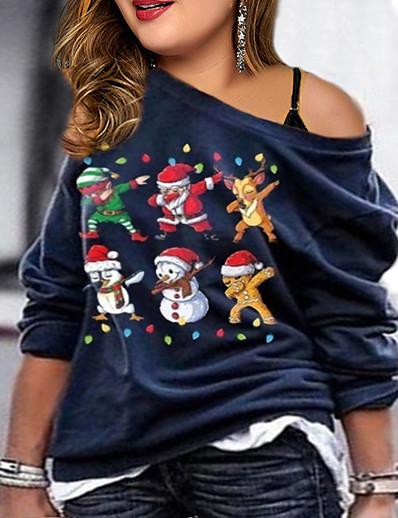 cheap CHRISTMAS-Women's Print Sweatshirt Christmas Basic Hoodies Sweatshirts  Blue Wine Army Green