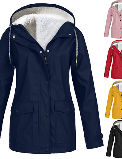 cheap Hunting Clothing-Women's Hooded Rain Jacket Outdoor Autumn / Fall Winter Thermal Warm Waterproof Windproof Sweat-Wicking Jacket Solid Color Fleece Camping / Hiking Hunting Blue Purple Yellow