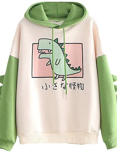 cheap Hoodies & Sweatshirts-women's teen girls cute dinosaur long sleeve hoodies casual loose sweaters hooded sweatshirts pullover tops shirts green