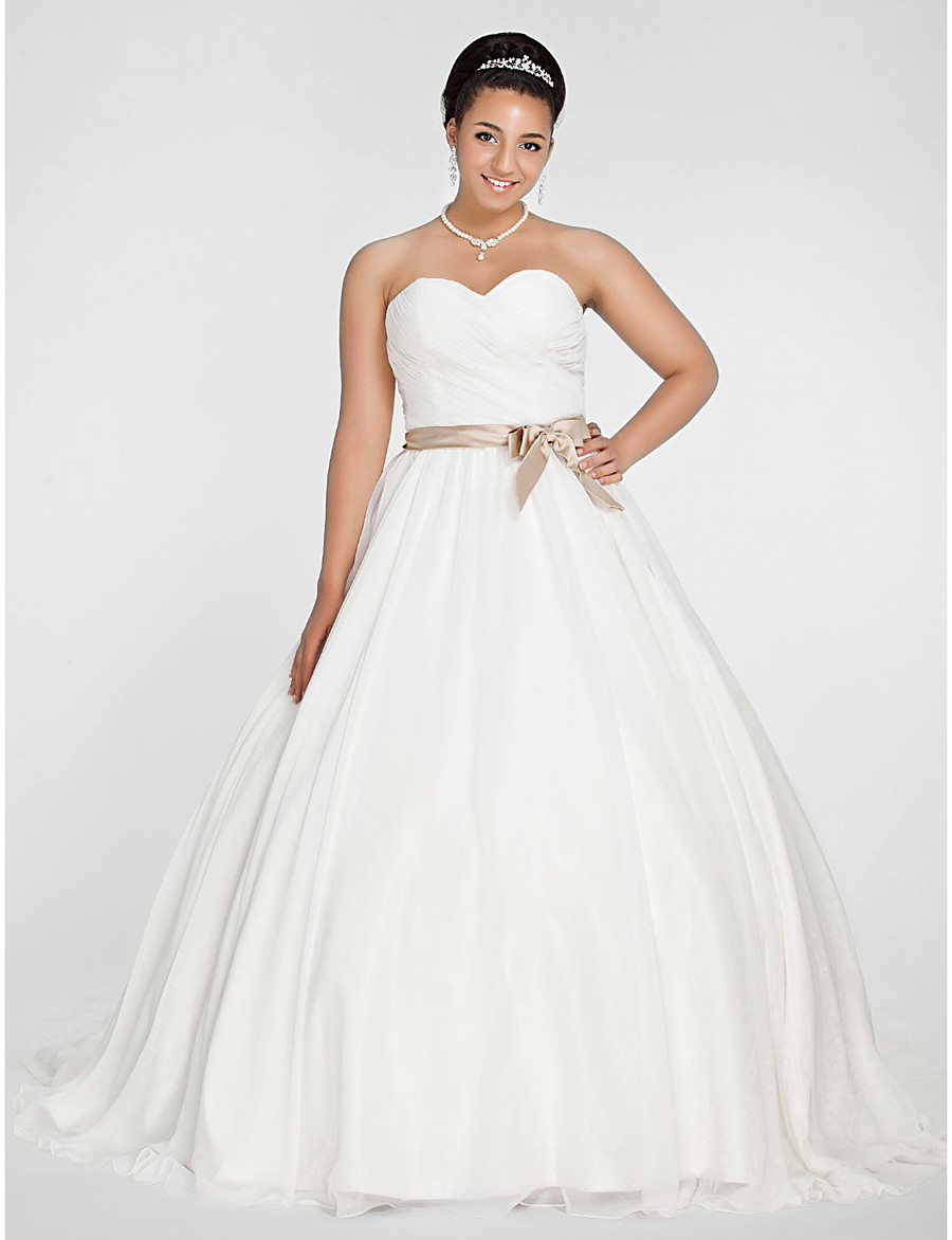 ADOR Plus Size Ball Gown Sweetheart Neckline Chapel Train Chiffon ...