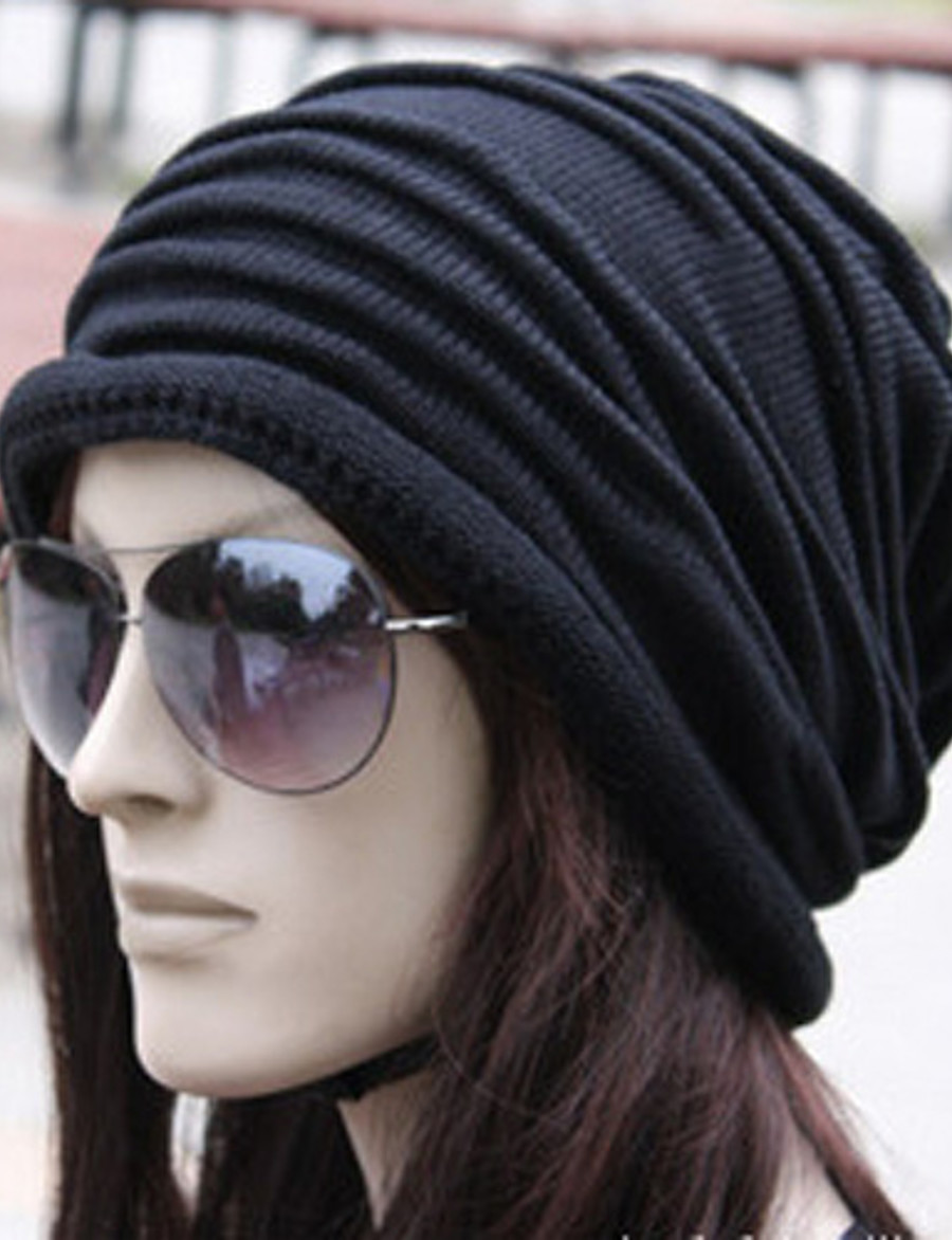 Women's Beanie / Slouchy Pleated Street Dailywear Casual Black Brown Pure Color Hat / Fabric / Gray / Fall / Winter