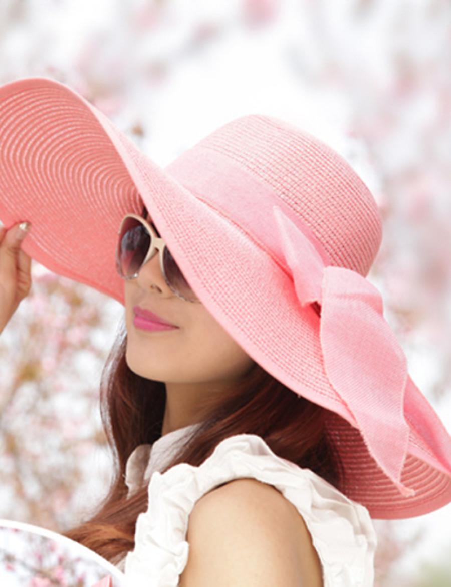 Chapeau de soleil Femme Noeud Couleur Pleine Blanc / Bleu / Incarnadin / Eté / Rétro Vintage / Chapeau & Bonnet