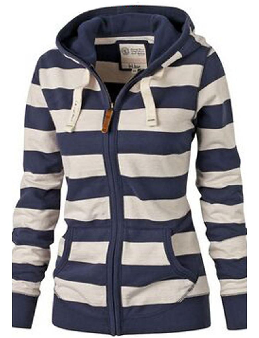 Women's Zip Up Hoodie Sweatshirt Striped Zip Up Daily Basic Hoodies Sweatshirts  Black And White Blue White Navy Blue