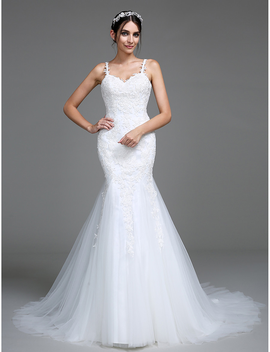 279 99 Ador Mermaid Trumpet Sweetheart Neckline Court Train Tulle Wedding Dresses With Appliques