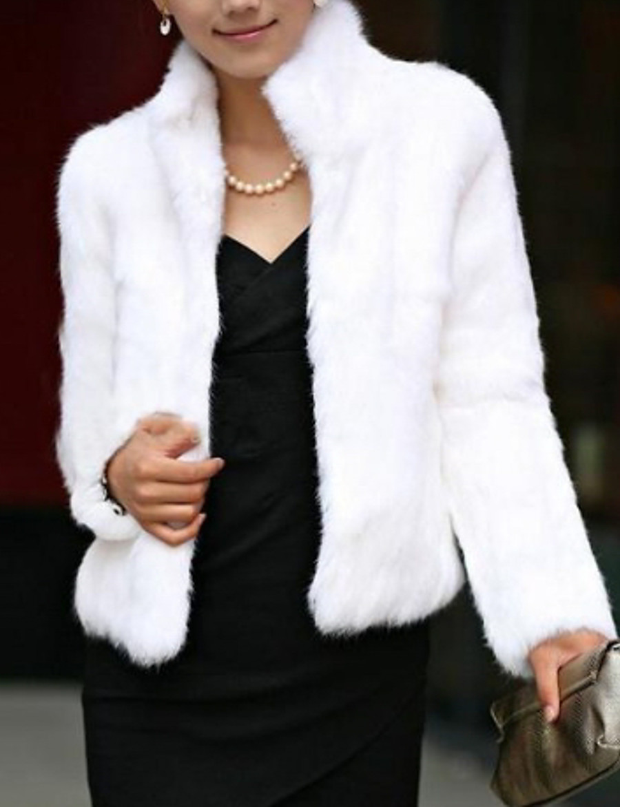 Women's Winter Short Fur Coat, Solid Colored Stand Long Sleeve Faux Fur Formal Style Black / White